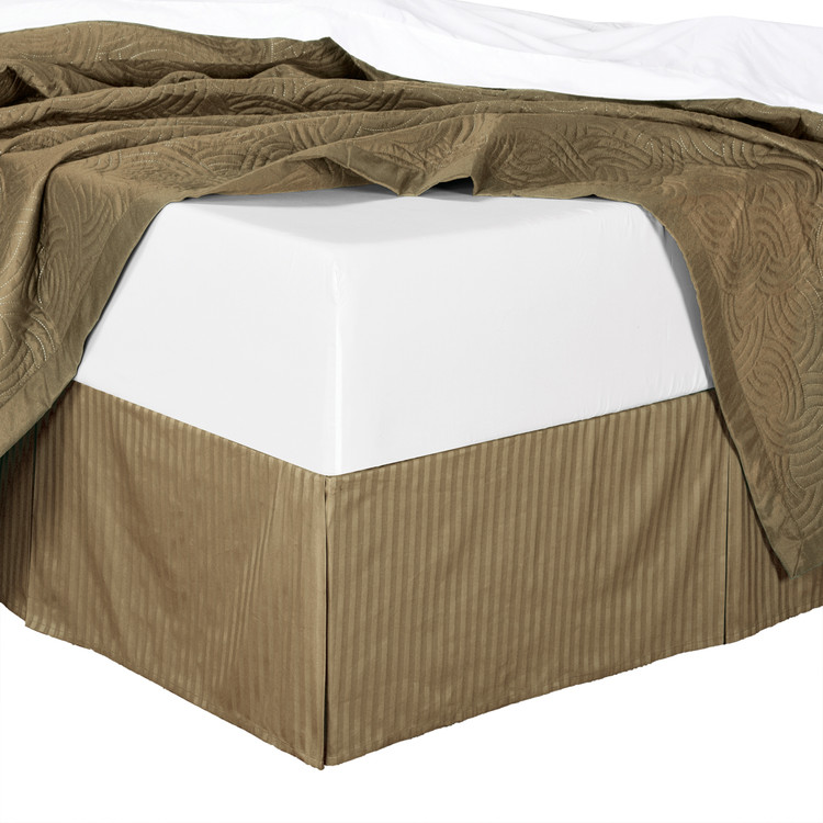 Taupe Bed Skirt Stripe