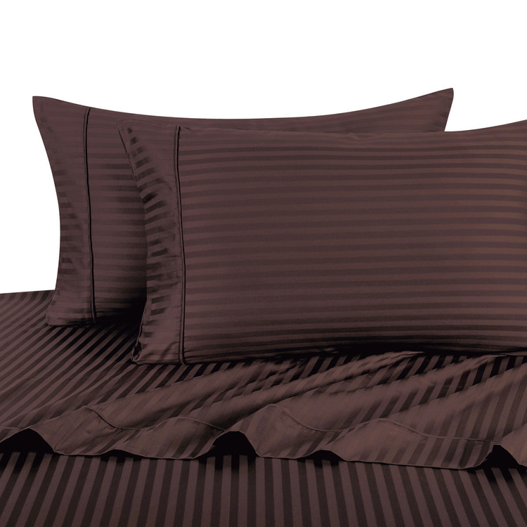 Chocolate Twin Extra Long Sheets 100% Cotton 500 Thread Count Damask Striped