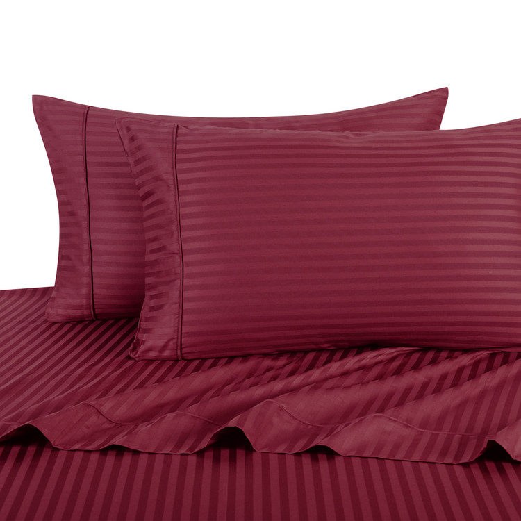 Burgundy Twin Extra Long Sheets 100% Cotton 500 Thread Count Damask Striped