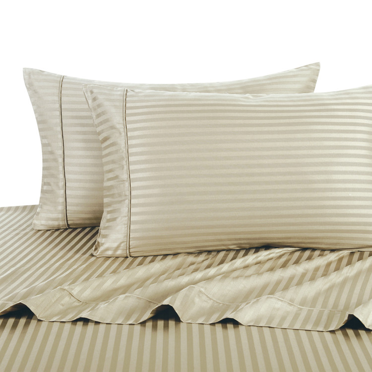 Linen Twin Extra Long Sheets 100% Cotton 500 Thread Count Damask Striped
