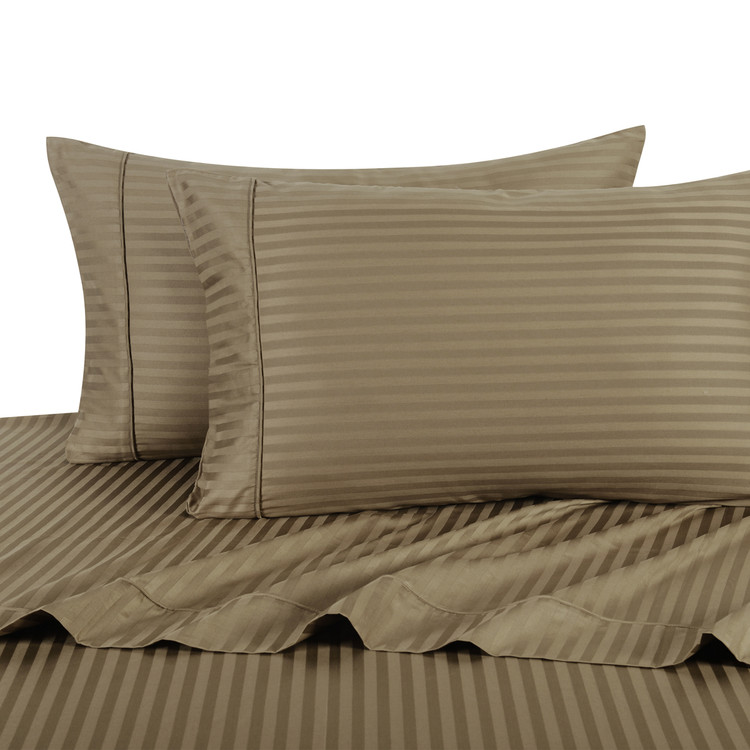 Taupe Twin Extra Long Sheets 100% Cotton 500 Thread Count Damask Striped
