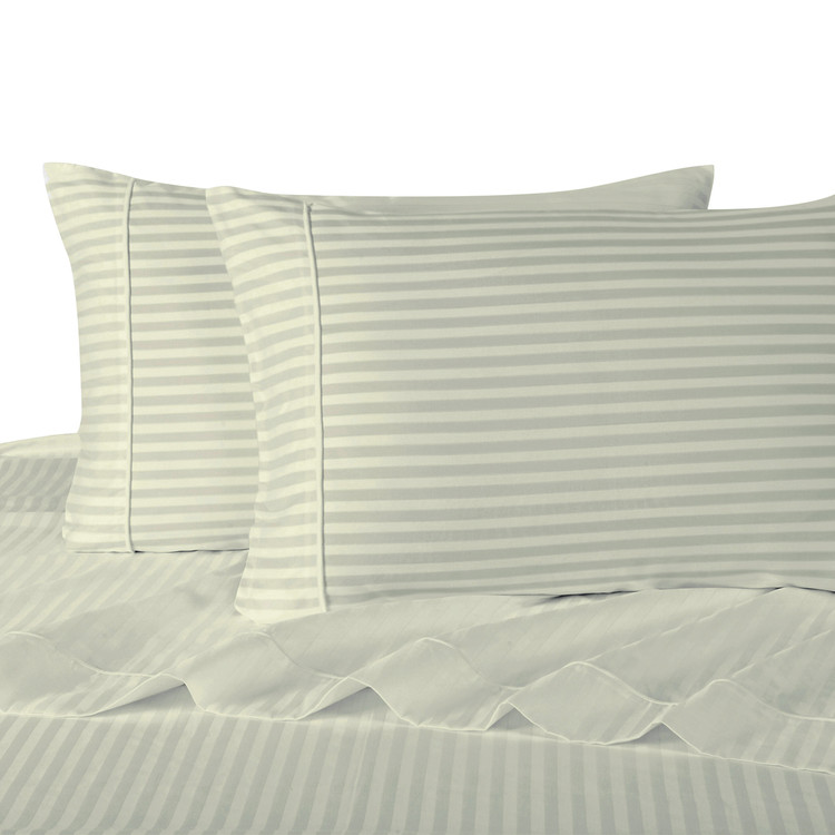 Ivory Twin Extra Long Sheets 100% Cotton 500 Thread Count Damask Striped