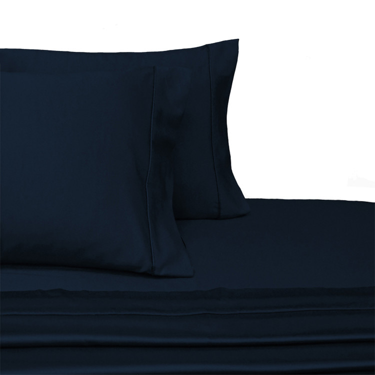 Split-Top-Sheets-Flex-Top-California-King-adjustable-beds-300TC-100-Cotton-Solid-Navy