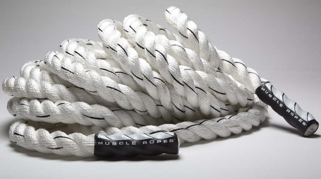 "White Cyclone 1.5"" Battle Rope By Muscle Ropes"