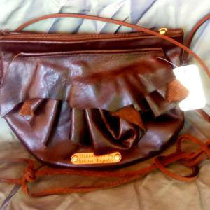 Small Genuine Leather Shoulder Bag with Rosette Flap
