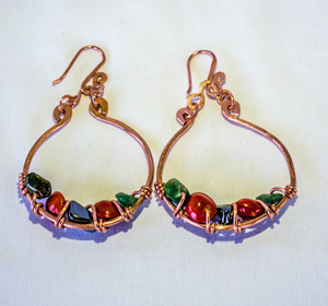 Copper with Hematite & Jade Earrings