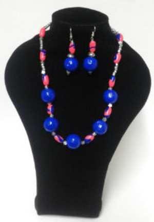 Blue paper bead Necklace set