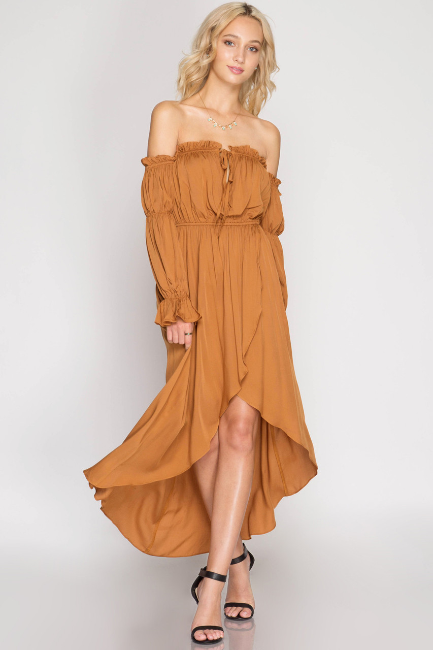 CARAMEL LONG SLEEVE OFF SHOULDER MAXI DRESS - Out Of My Kloset Boutique