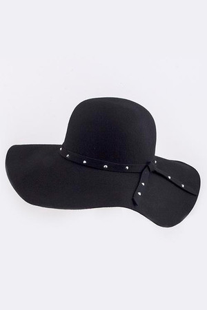 STUDDED SIMPLE KNOT WOOL FLOPPY HAT