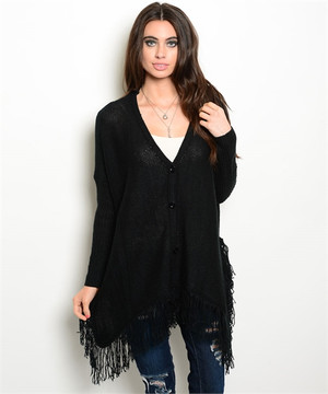 Fringe Black Cardian Sweater
