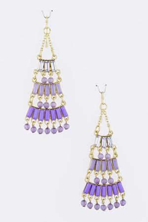 Baguette Bead Dangle Earrings