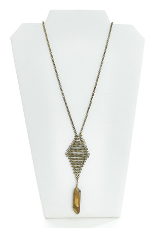 Raw Stone Necklace Gold