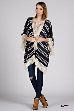 STRIPE KNIT CARDIGAN WITH FRINGE TRIM