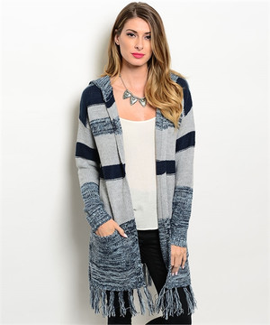 NAVY GRAY FRINGE CARDIGAN SWEATER