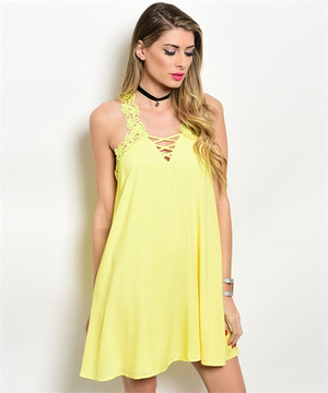 YELLOW DETAIL NECK AND BACK CROSS STRAP DRESS