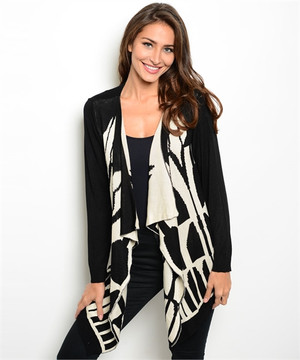 LONG SLEEVE ABSTRACT CARDIGAN SWEATER