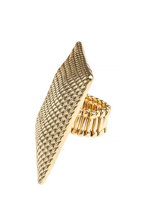 TEXTURED CHAIN PATTERN SQUARE STRETCH RING