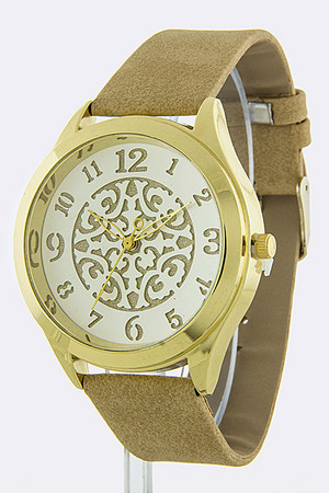 SYMMETRIC DESIGN WATCH FAUX SUEDE BAND
