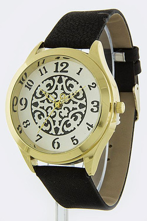 BLACK SYMMETRIC DESIGN WATCH FAUX SUEDE BAND