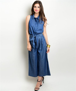 CULOTTES DENIM TOP & PANTS SET