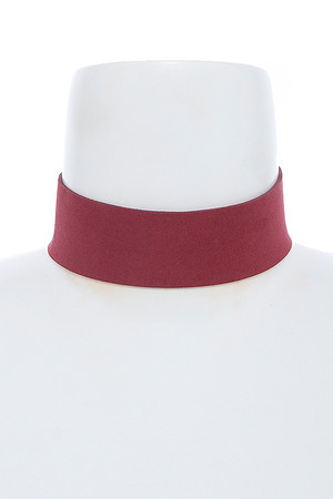 THICK FAUX SUEDE CHOKER NECKLACE  Burgundy