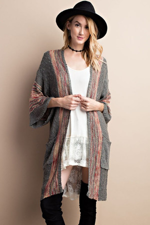 WIDE SLEEVE MULTI COLOR MIX BACK BOHO SWEATER