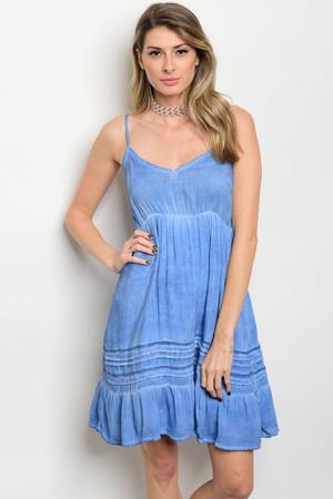 BLUE MINERAL WASHED DRESS