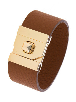 THICK GENUINE LEATHER TURN LOCK BRACELET