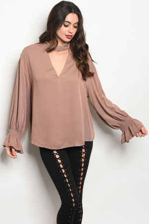 TAUPE LONG SLEEVE CHOKER TOP
