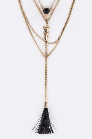 Metal Arrow & Tassel Drop Layer Necklace Set