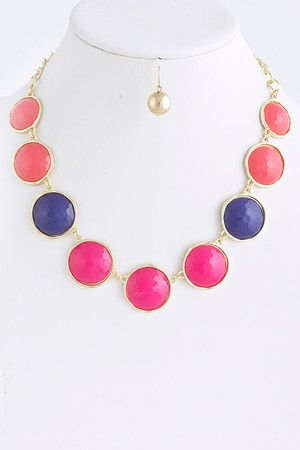 Round Jewel Necklace Set Fuchsia