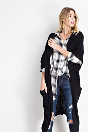 COZY POCKET KNIT LONG SLEEVE OPEN FRONT CARDIGAN