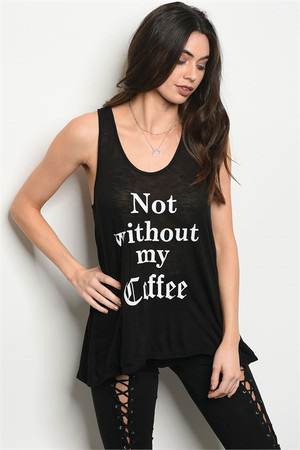 "BLACK ""NOT WITHOUT MY COFFEE"" PRINT TOP"
