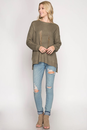 OLIVE LONG SLEEVE DISTRESSED SWEATER