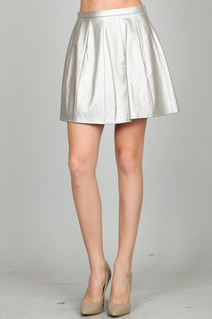 Silver Metallic Leather Skirt Ark & Co