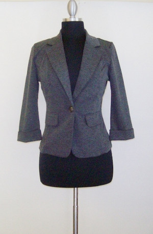 Charcoal Knit Blazer Out Of My Kloset