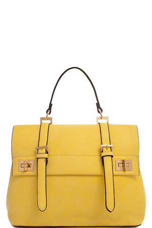 2in1 Fashion Designer Satchel Bag with Long Strap Yellow