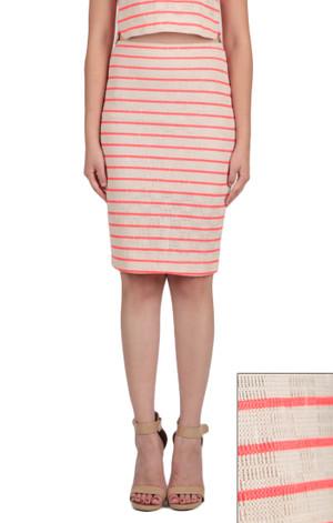 Khaki and Neon Orange Pencil Skirt