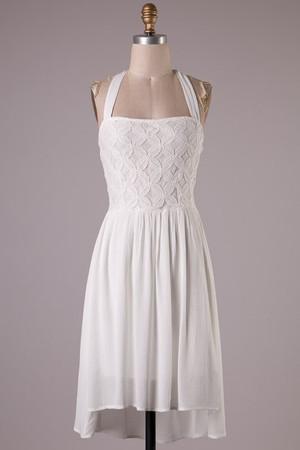 Sleeveless Lace Hi Low Dress