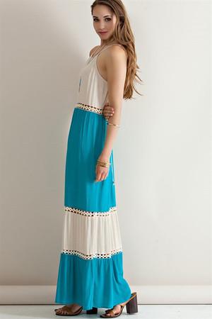 Color Block Halter Maxi Dress