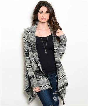 BLACK GREY CARDIGAN SWEATER