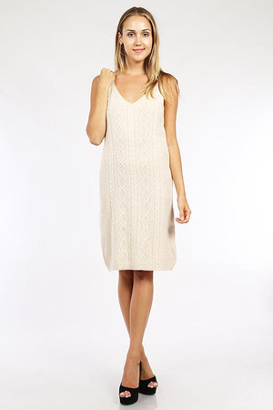 Cable Knit Sweater Dress Ivory