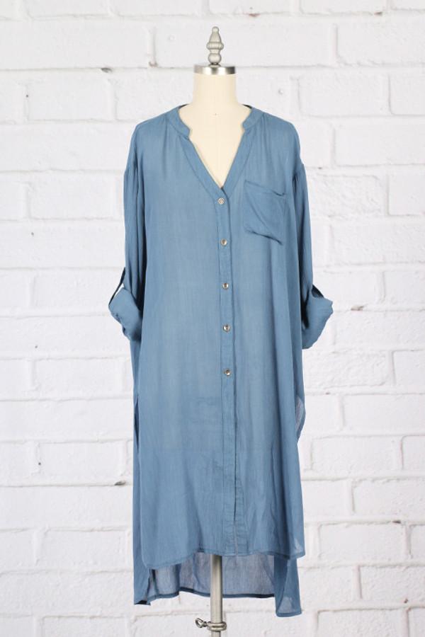 Denim Color Button Up Shirt Dress