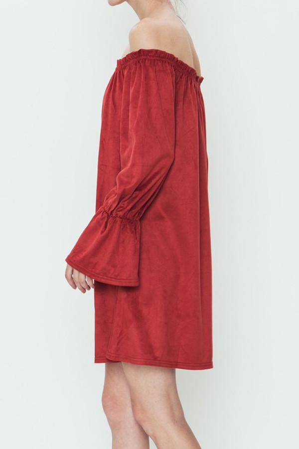 OFF THE SHOULDER LONG SLEEVE SUEDE DRESS