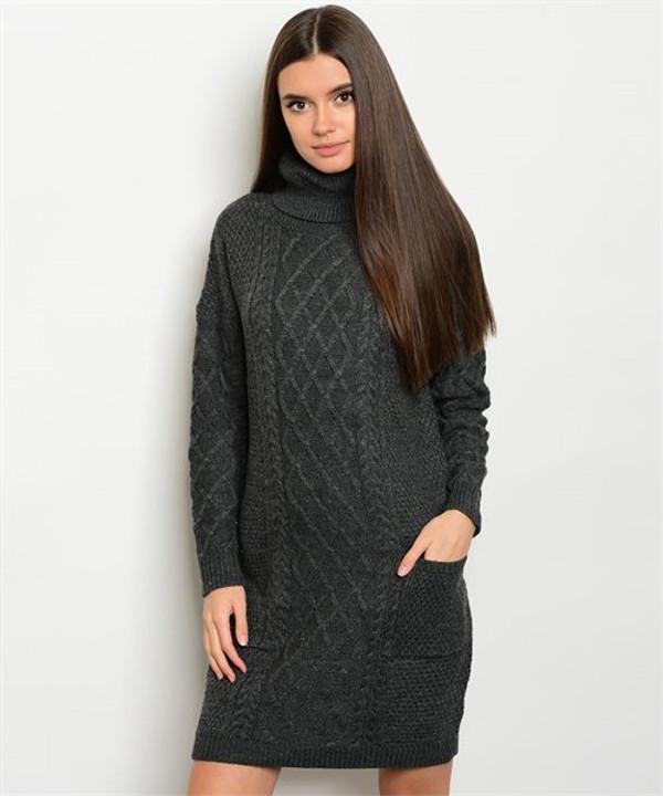 CHARCOAL SWEATER DRESS