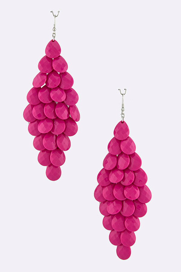 Teardrop Jewel Cluster Fuchsia Earrings
