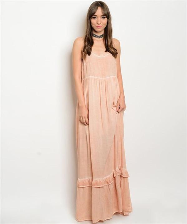 SALMON MINERAL WASH DRESS