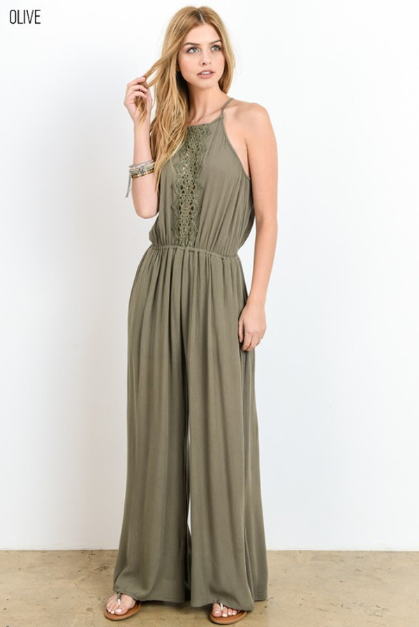 WIDELEG HALTER NECK JUMPSUIT