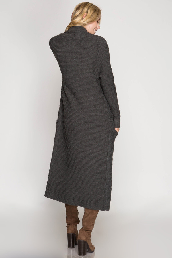 CHARCOAL LONG SLEEVE RIBBED SWEATER DUSTER WITH POCKETS