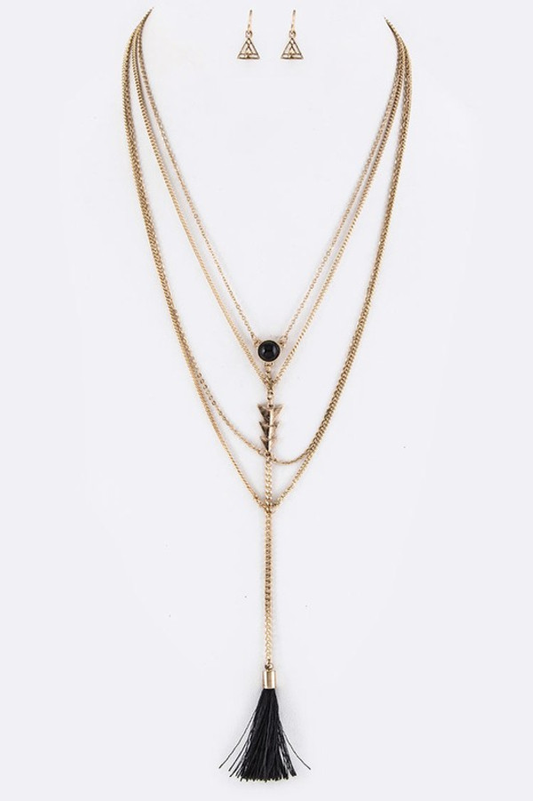 Metal Arrow & Tassel Drop Layer Necklace Set
